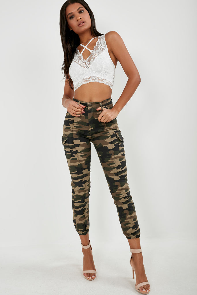 Ollie Camouflage Cuffed Hem Cargo Trousers