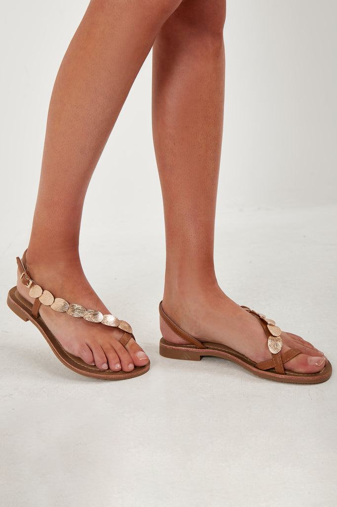 Omar Camel Coin Detail Toe Post Sandals (1845652848706)