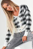 Omaria Black Check Pearl Button Cardigan