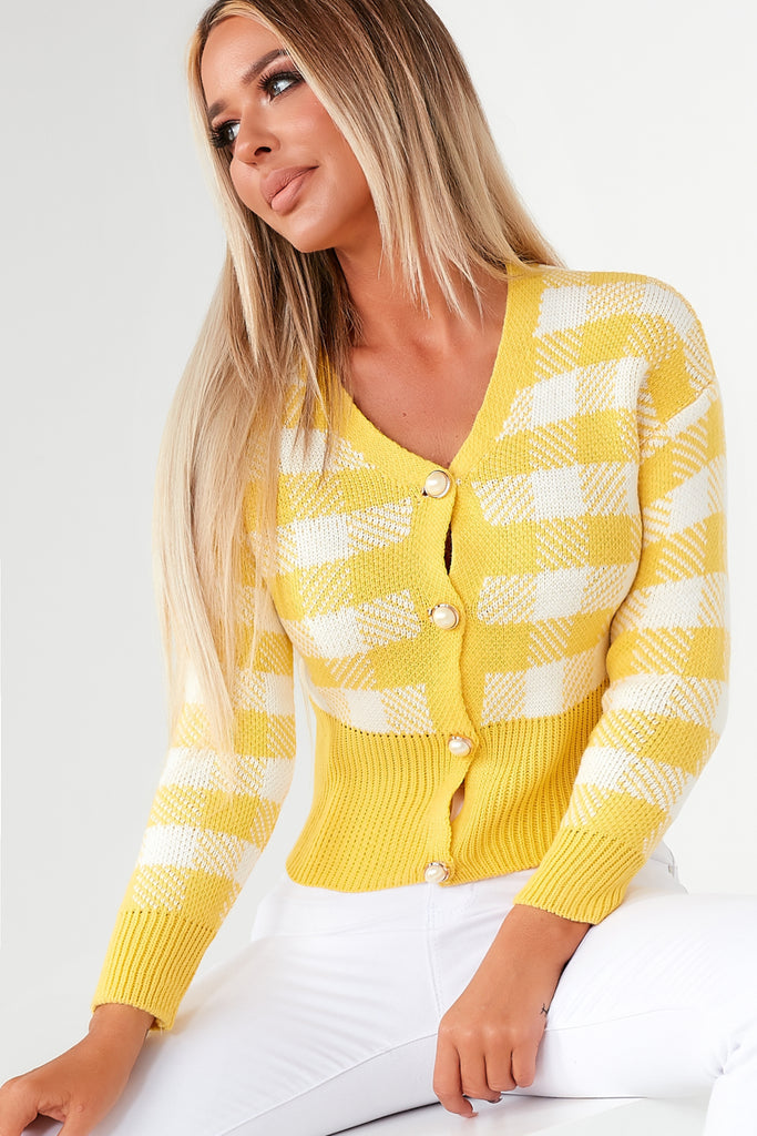 Omaria Yellow Check Pearl Button Cardigan