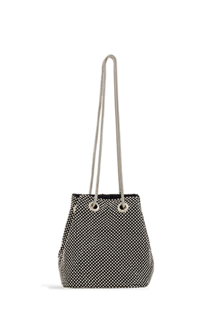 Omarie Black Small Diamante Bucket Bag (1617889230914)