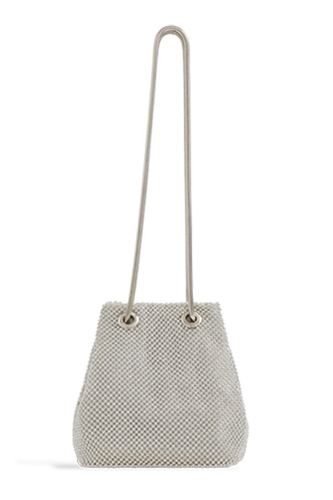 Omarie Silver Small Diamante Bucket Bag (1603295117378)