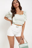 Oni Mint Green Frill Shirred Style Crop Top