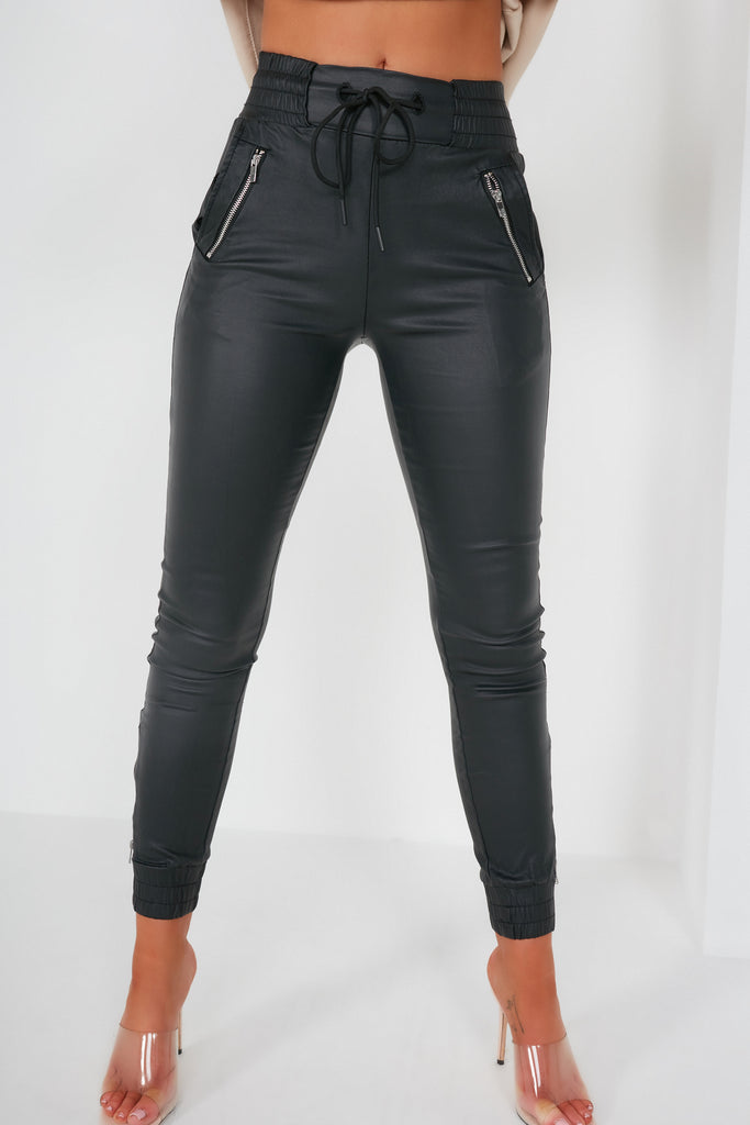 Opal Black Faux Leather Joggers