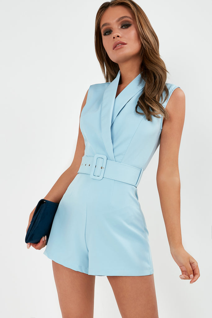 Ophira Blue Belted Playsuit