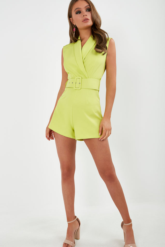 Ophira Lime Belted Playsuit