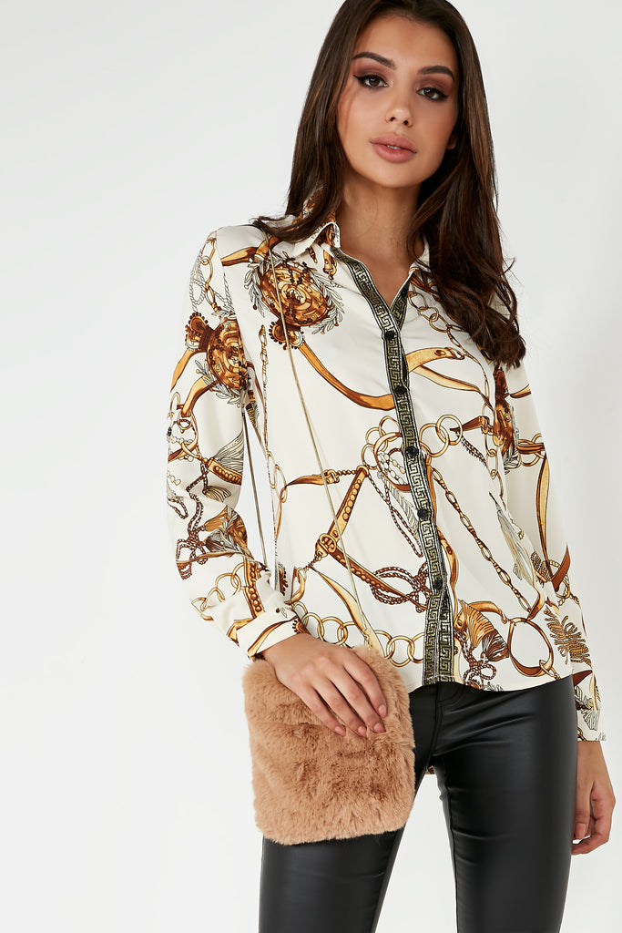 Ora Cream Scarf Print Shirt