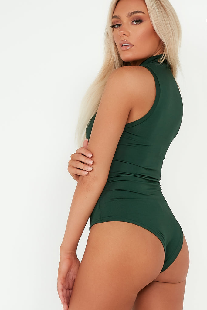 Orilla Green High Neck Slinky Bodysuit
