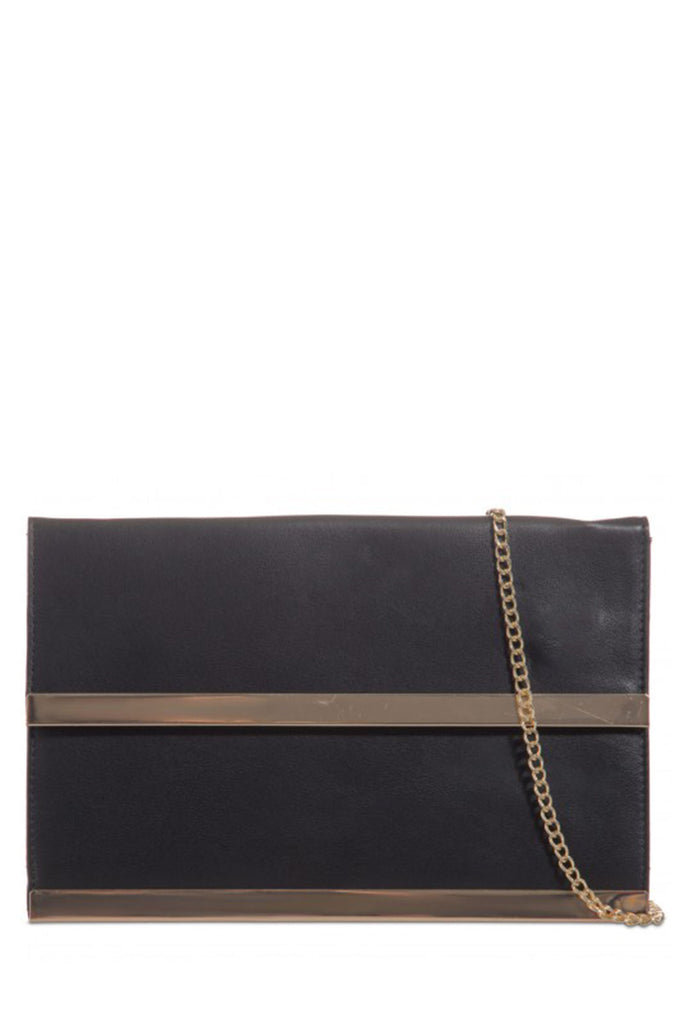 Orla Black Gold Trim Clutch Bag