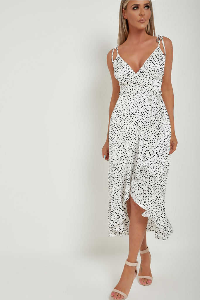 Orla White Spotted Tie Strap Midi Dress