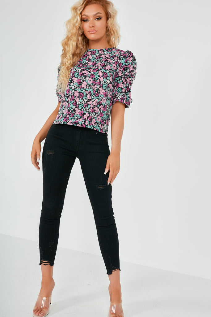 Orlaith Purple Floral Frill Seeker Top