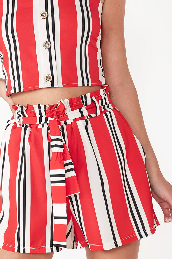 Orva Red Striped Shorts Co Ord