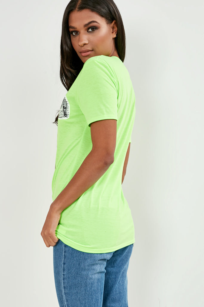 Orvie Green Printed Face T-Shirt