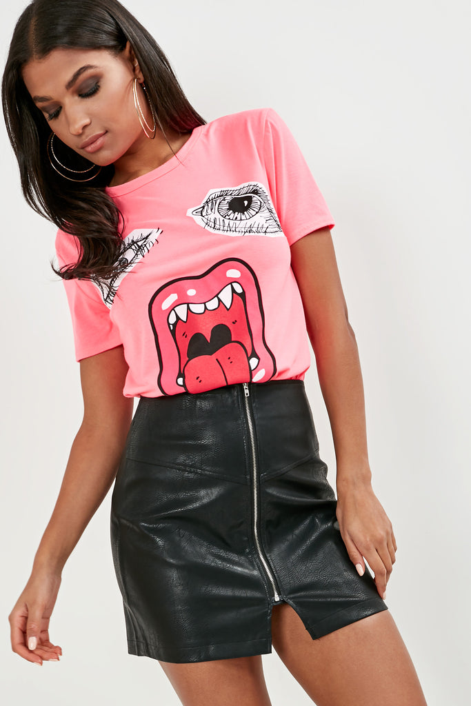 Orvie Neon Pink Printed Face T-Shirt