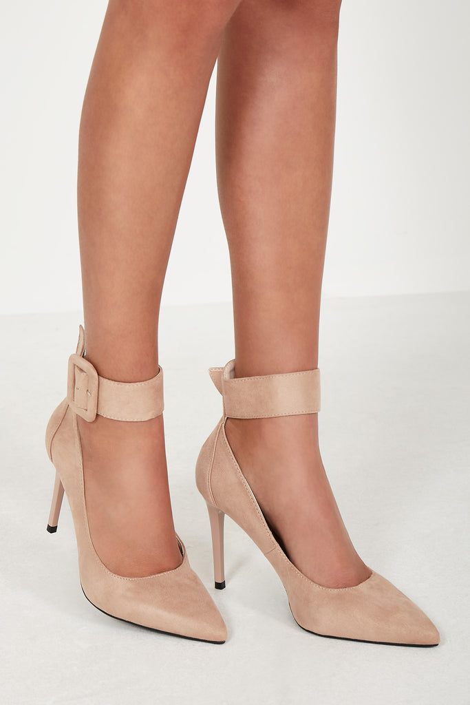 Ottie Nude Suedette Court Shoes