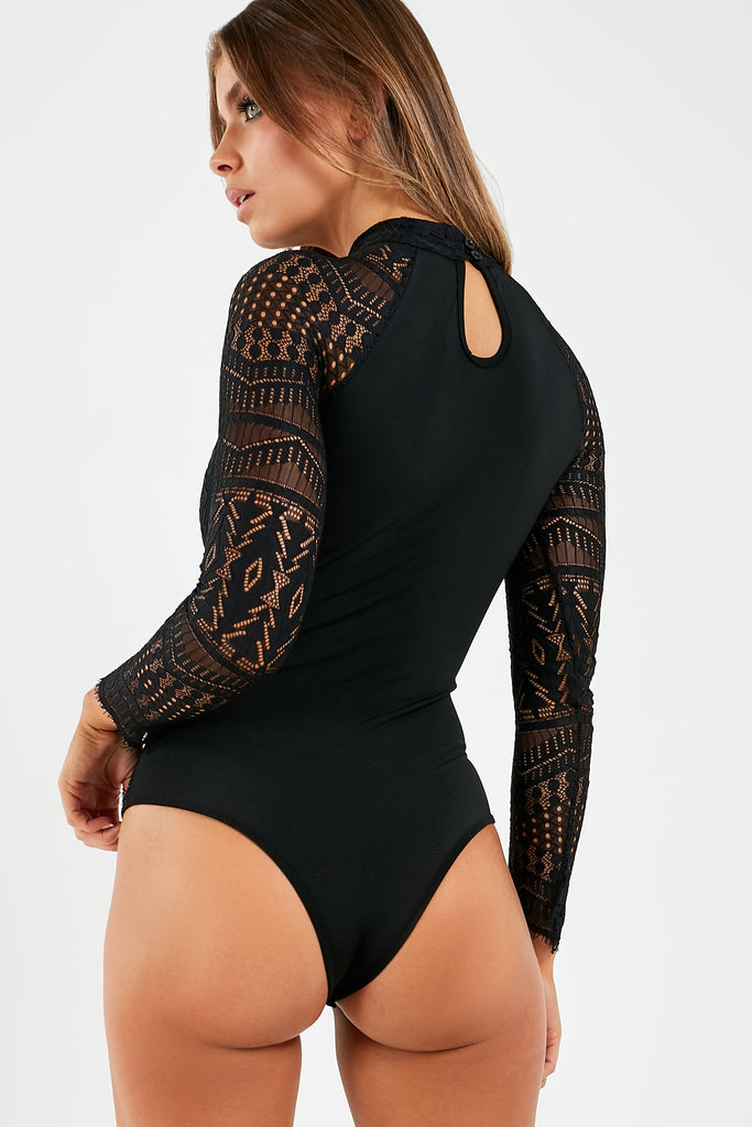 Ovetta Black Lace High Neck