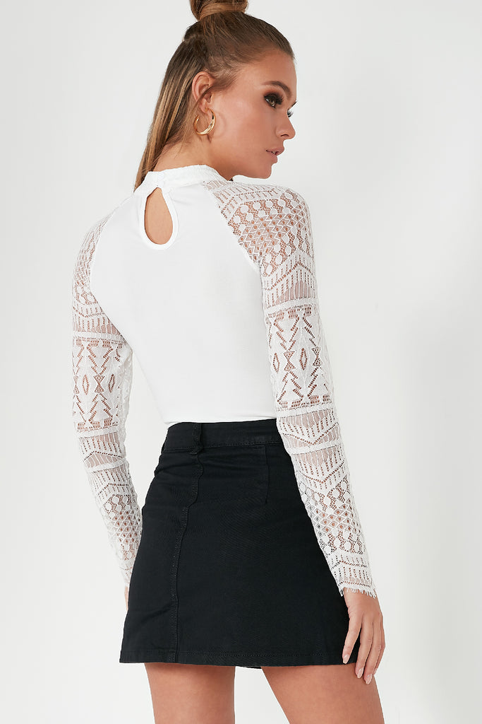 Ovetta White Lace High Neck