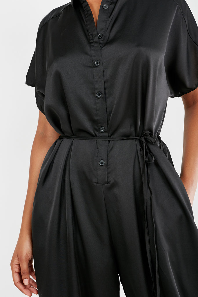 Ovie Black Satin Button Front Belted Jumpsuit