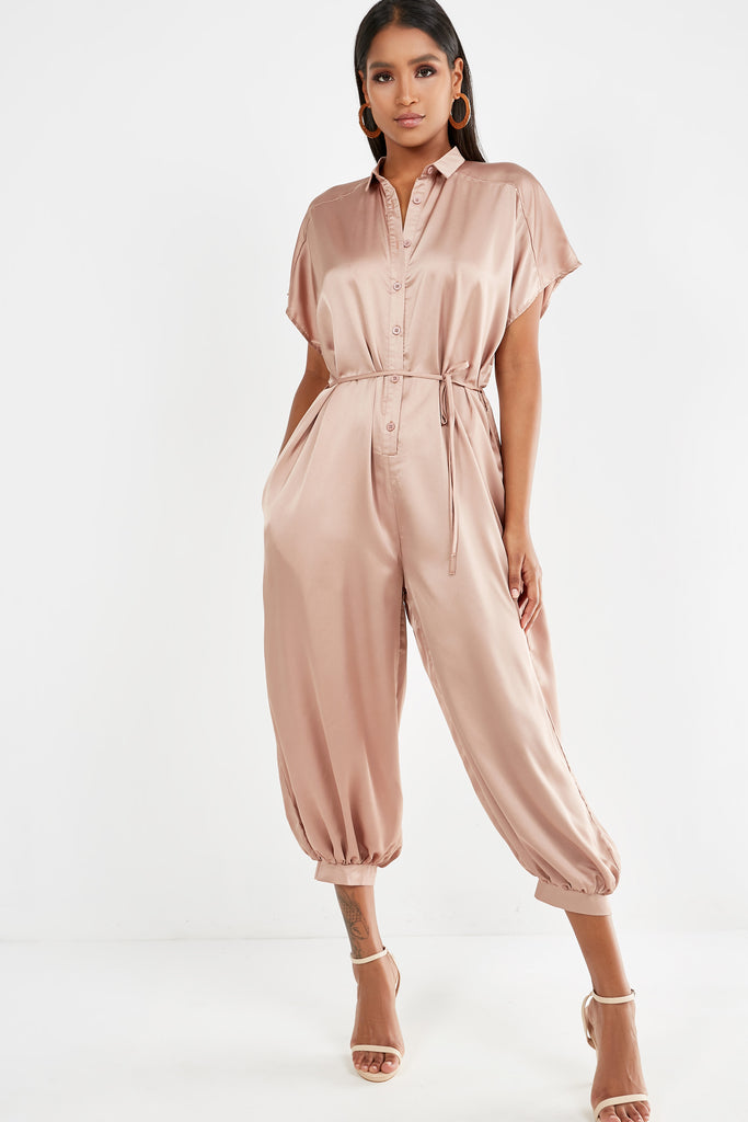 Ovie Mocha Satin Button Front Belted Jumpsuit (1983102124098)