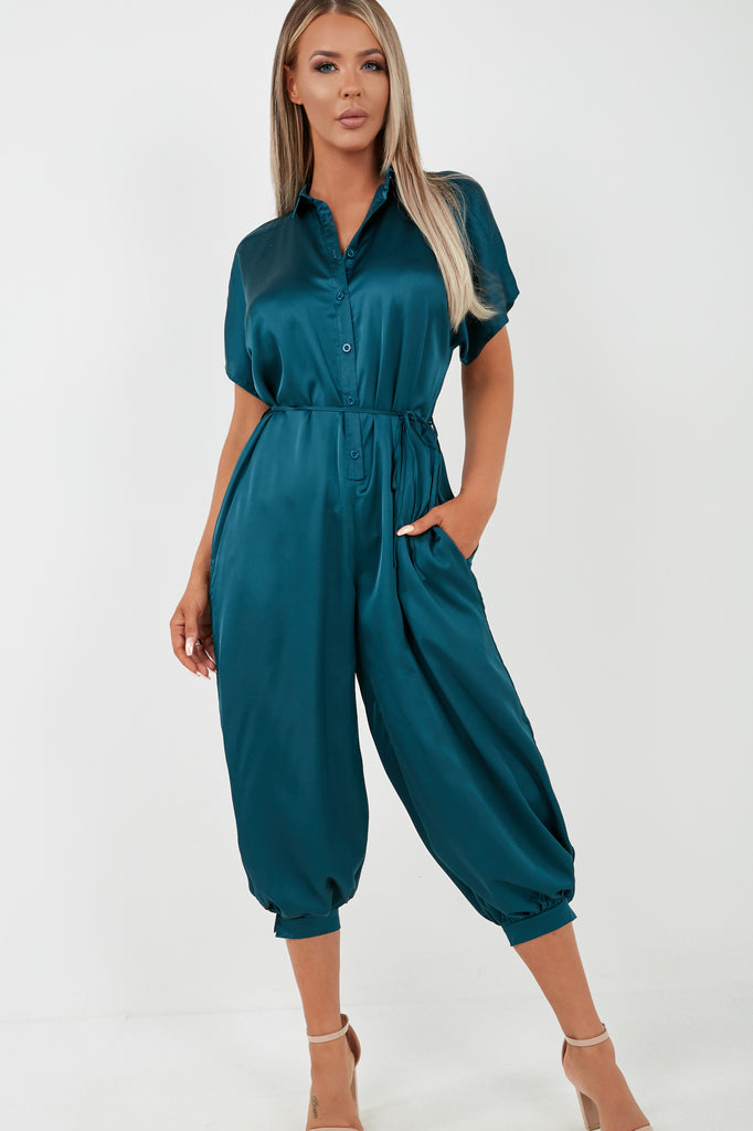 Ovie Teal Satin Button Front Belted Jumpsuit