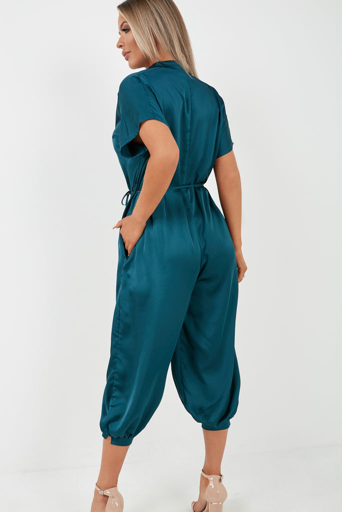 Ovie Teal Satin Button Front Belted Jumpsuit (2015347605570)
