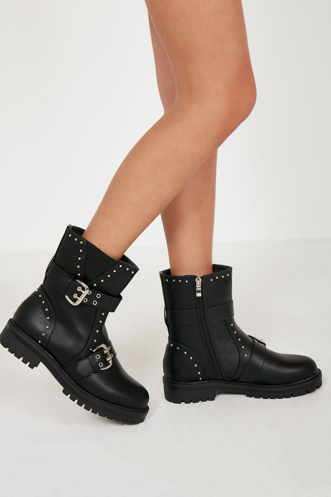 Owena Black Buckle Studded Biker Boots (1697796194370)