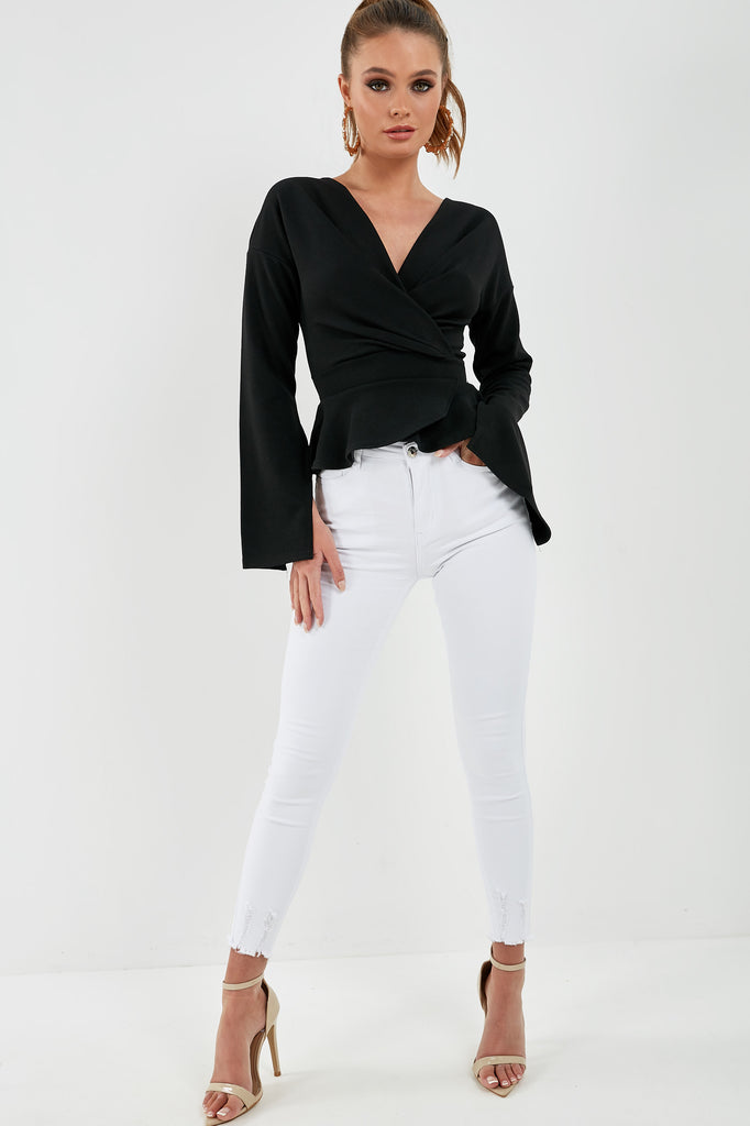Paige Black Wrap Over Peplum Top