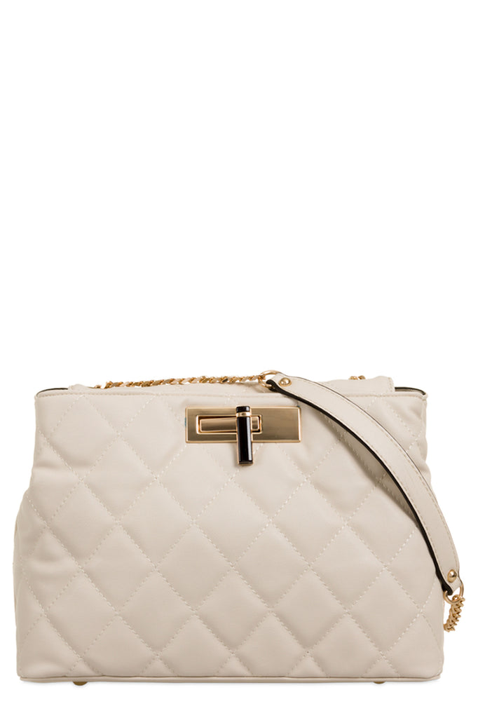 Paladio Beige Quilted Leatherette Shoulder Bag (9563710416)