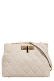 Paladio Beige Quilted Leatherette Shoulder Bag