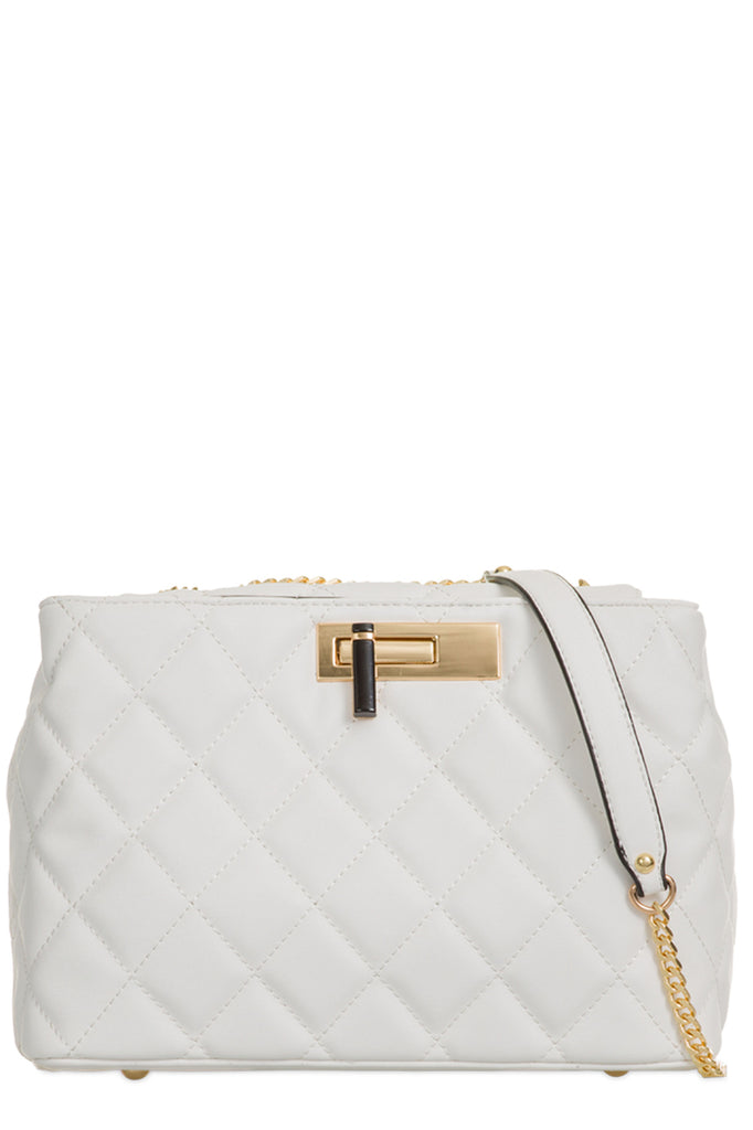 Paladio White Quilted Leatherette Shoulder Bag