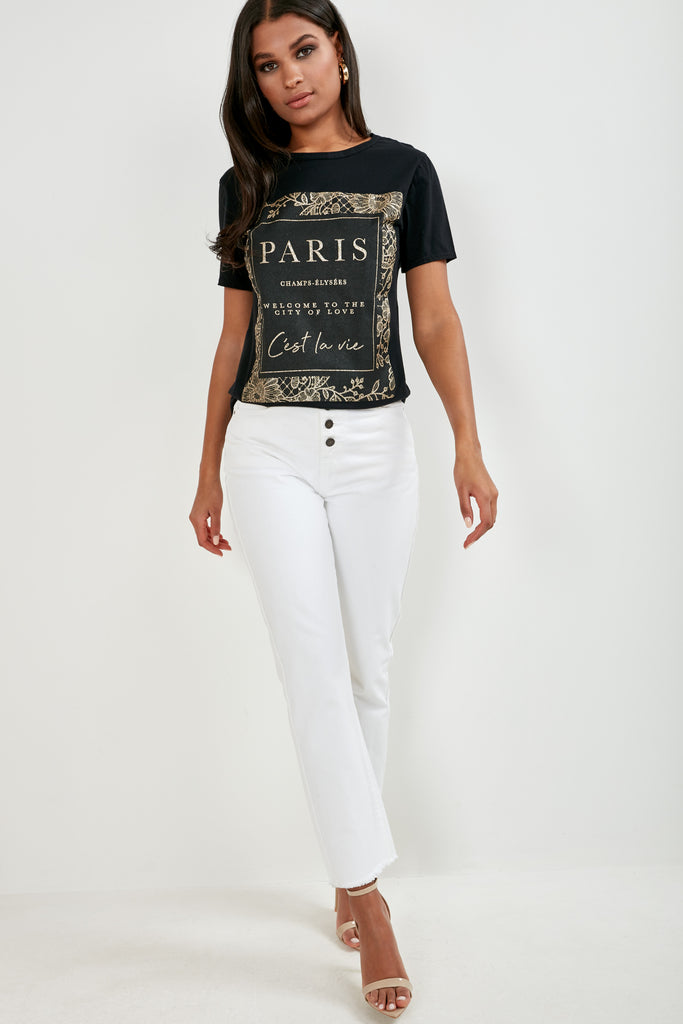 Pallas Black 'Paris' Slogan T-Shirt