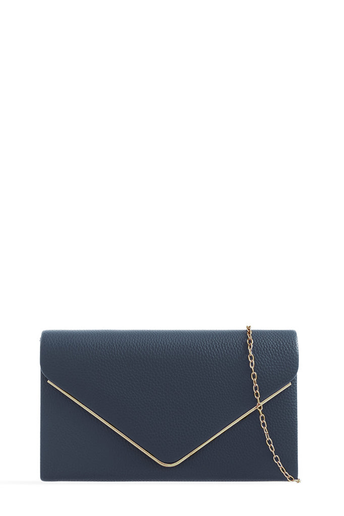 Pamela Navy Gold Trim Moc Croc Clutch