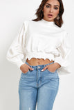 Pammie White Balloon Sleeve Sweat Shirt