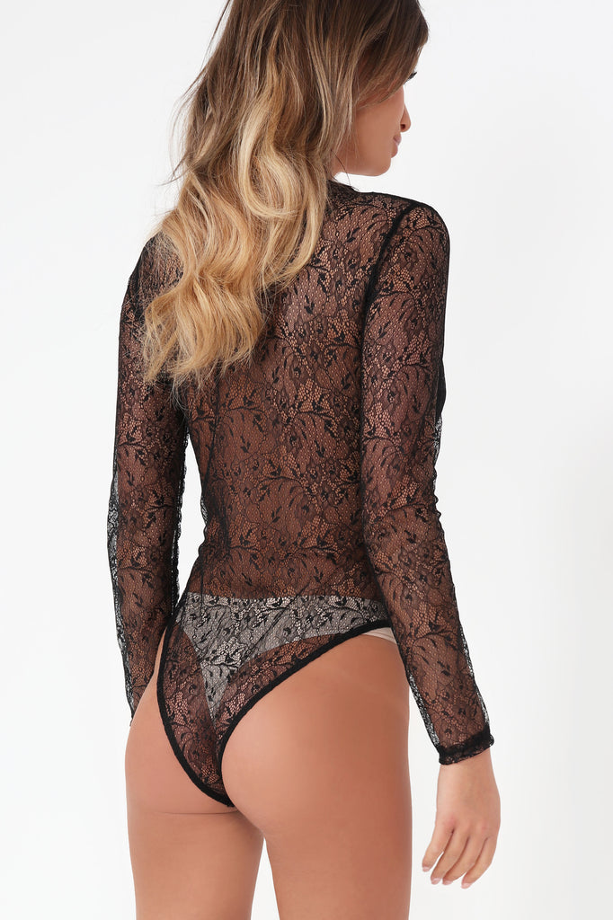 Pansy Black Lace Panel Bodysuit
