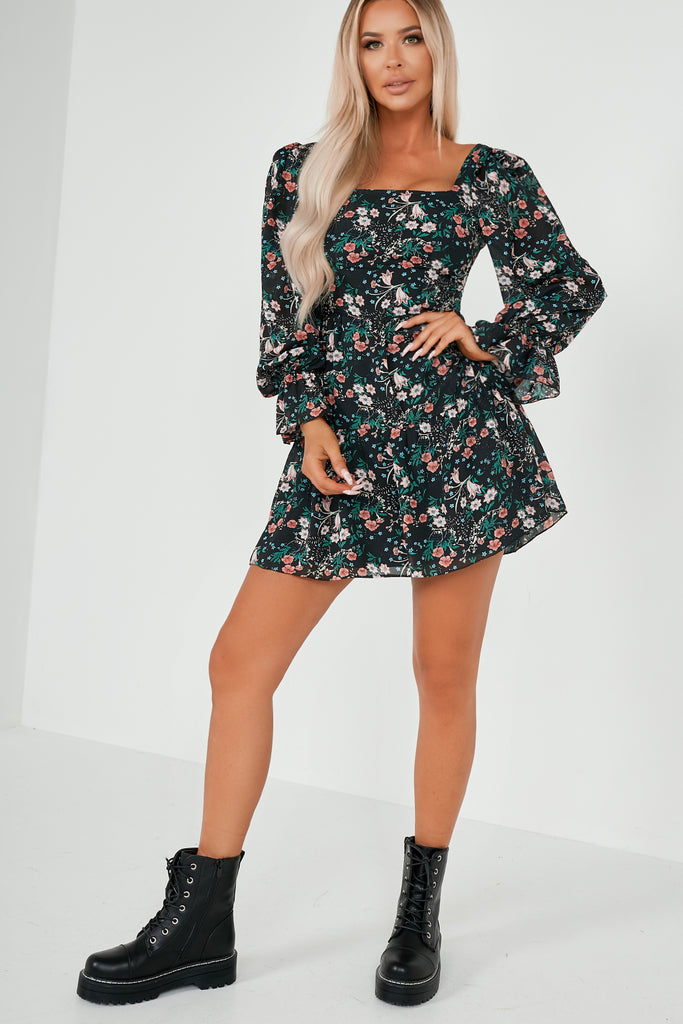 Paola Black Floral Tiered Dress