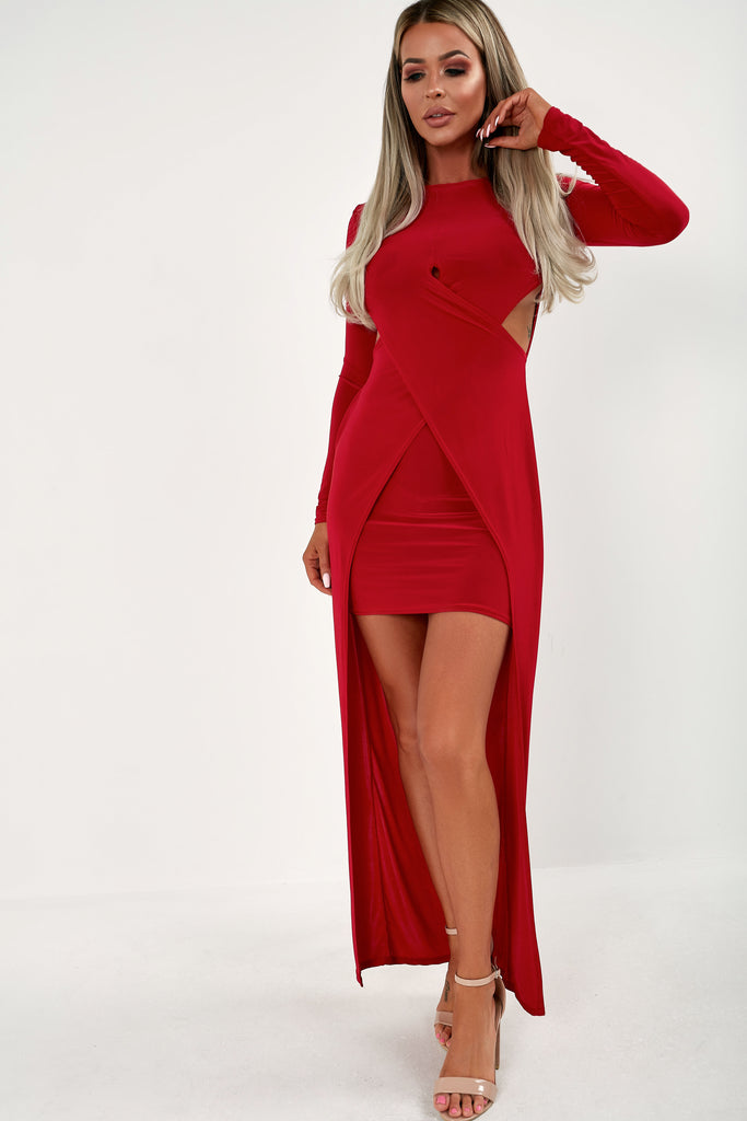 Paola Red Cut Out Slinky Dress