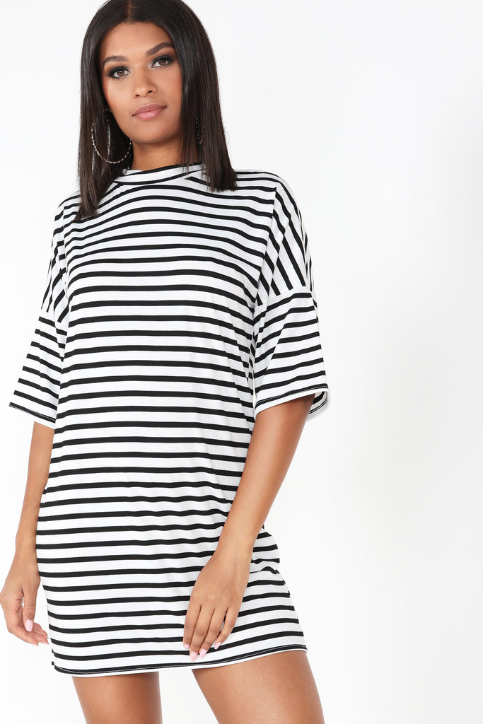 Pascalla Monochrome Striped T Shirt Dress (1312648101996)