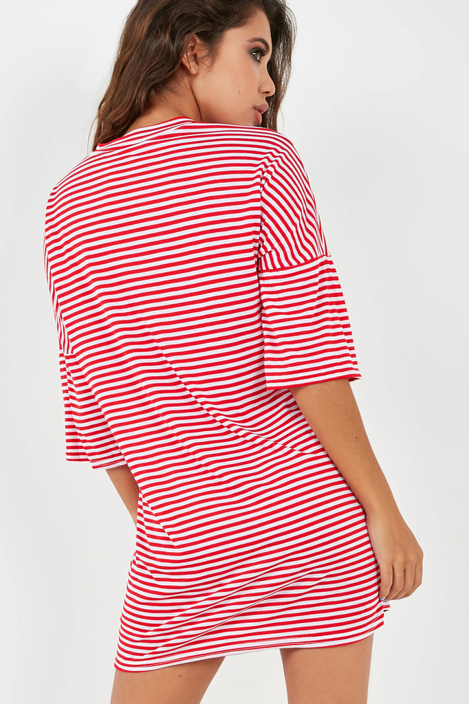 Pascalla Red and White Striped T Shirt Dress (1983078236226)