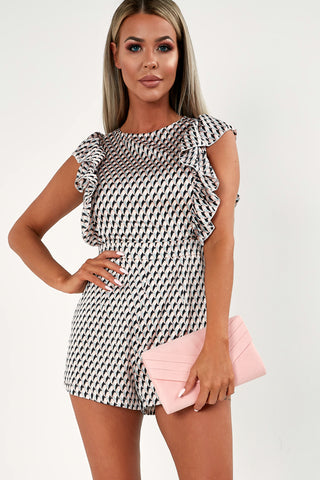9a4844b870e Patricia Pink and Black Geometric Playsuit