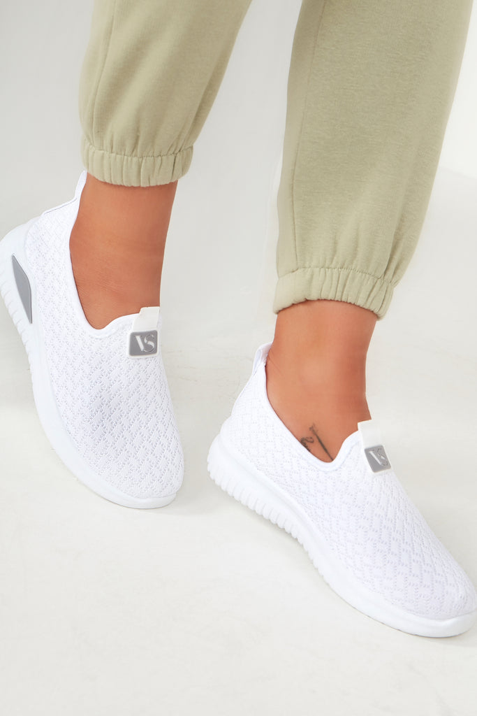Patrina White Mesh Slip On Trainers