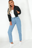 Patsy Black Padded Crop Bomber Jacket
