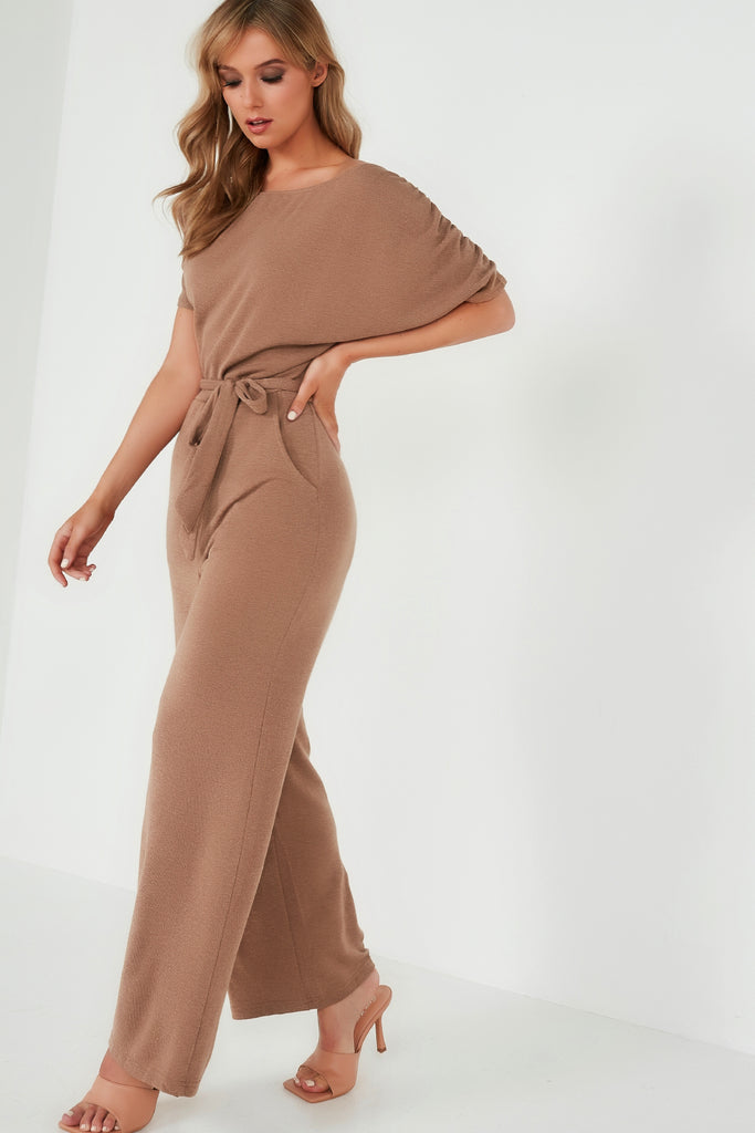 Patsy Camel Batwing Knitted Jumpsuit