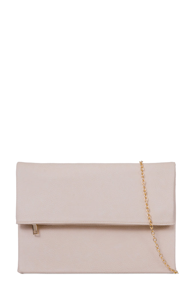 Pattie Beige Large Leatherette Clutch (18990104592)
