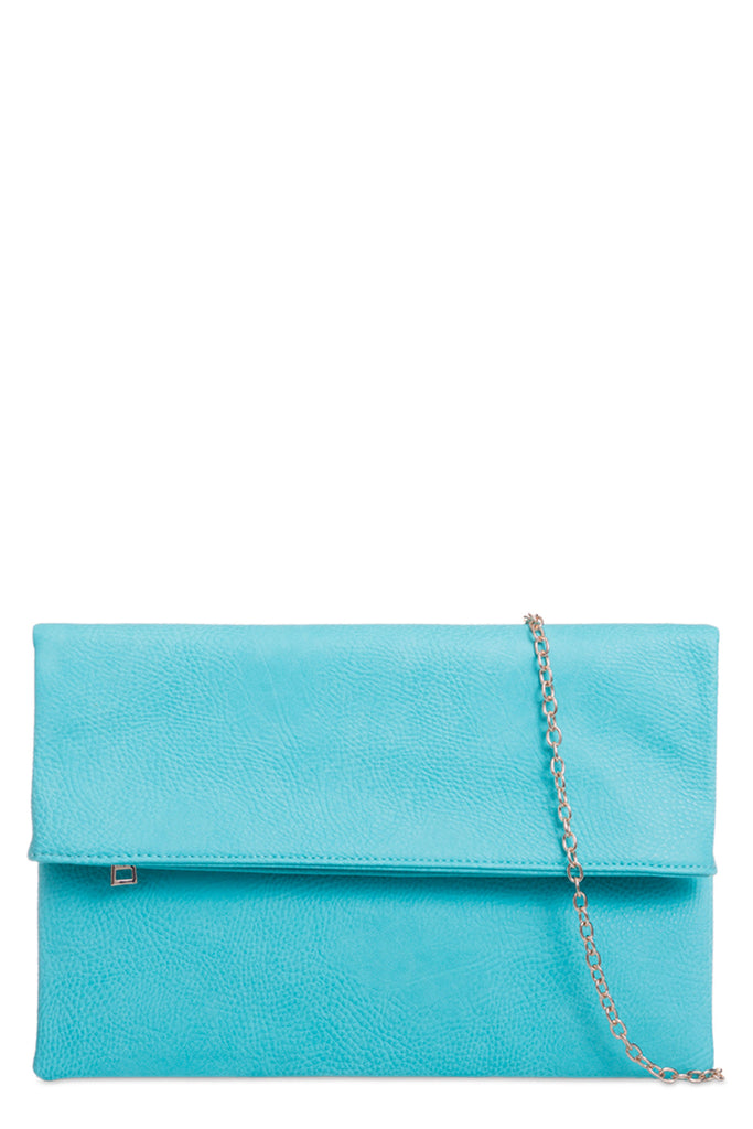 Pattie Mint Large Leatherette Clutch