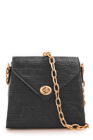 Paula Black Leatherette Structured Bag