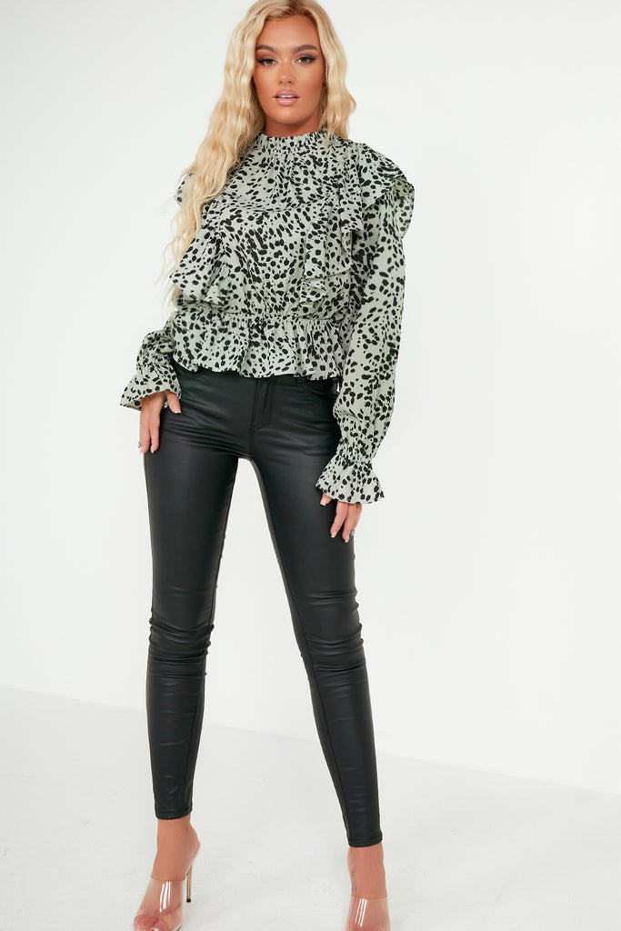 Paula Green Animal Print Frill Top