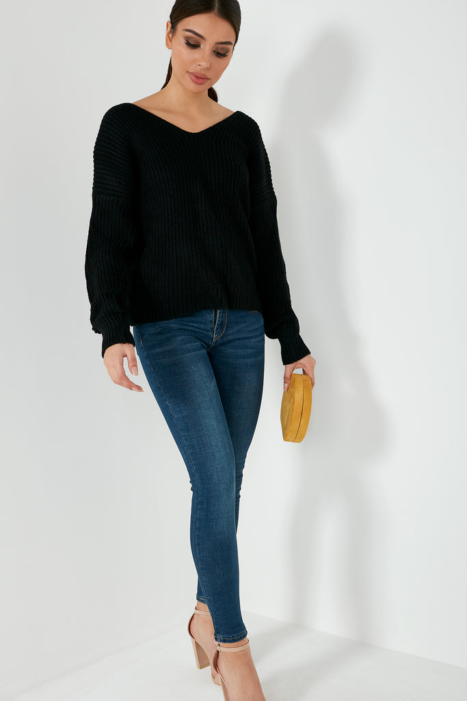 Paulette Black Knot Back Jumper