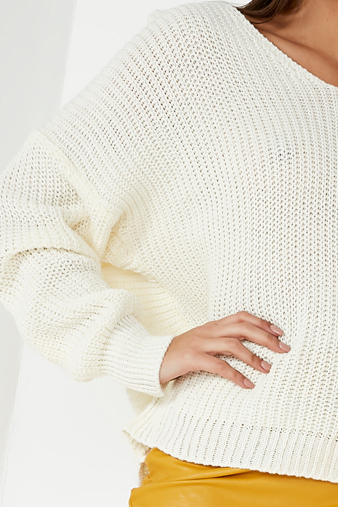 Paulette Cream Knot Back Jumper