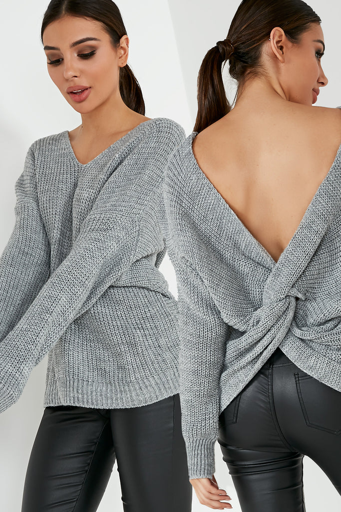 Paulette Grey Knit Knot Back Jumper