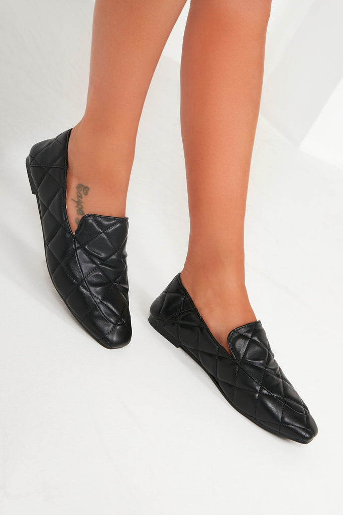 Pax Black Quilted Loafers